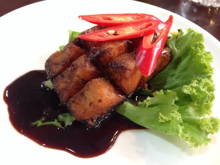 isolated: Fried snapper with sauces
