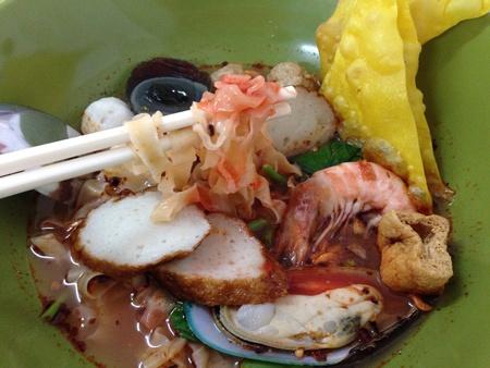 noodles soup: Spicy seafood noodles soup Stock Photo