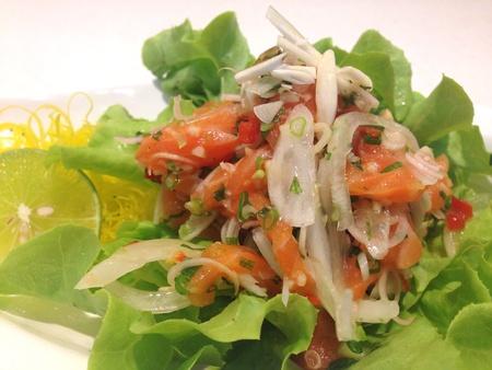 style: Salmon salad in thai style
