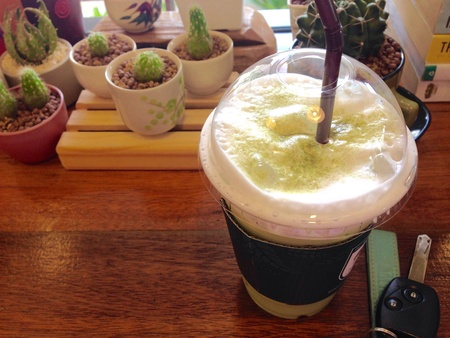 Relaxing time with green tea frappe