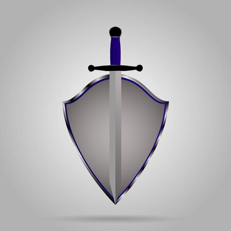 gad: Sword and shield emblem  on gray background