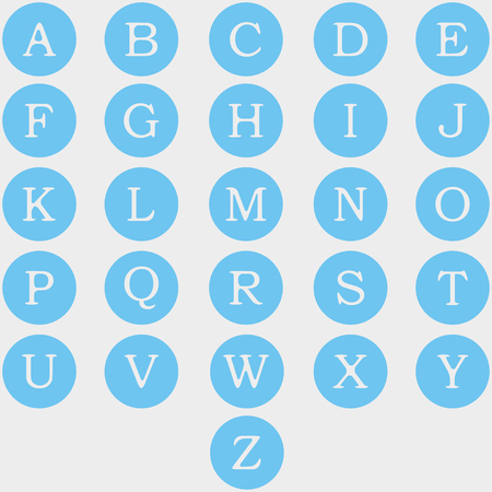 puzzling: English alphabet  blue circles on a white background
