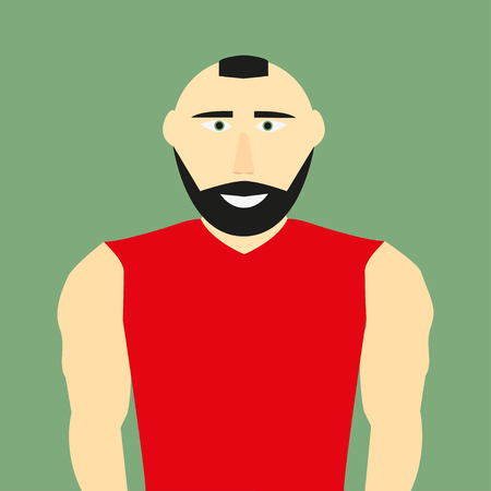 iroquois: A man  in a red T-shirt on a green background
