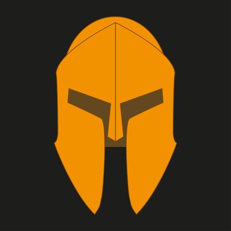 hoplite: Corinthian  bronze orange helmet on a black background Illustration