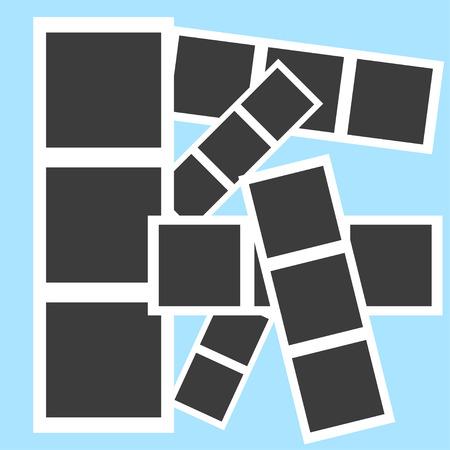 Collage Bilderrahmen auf dem blauen Hintergrund Standard-Bild - 48863857