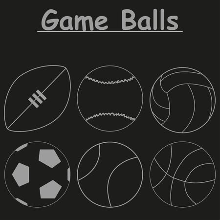 nfl: Set  of icons of game balls on a black background