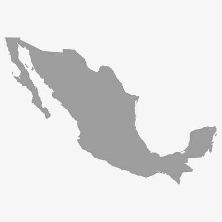 nations: Map  of Mexico in gray on a white background Illustration