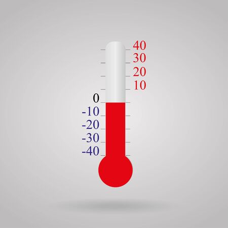 hotness: Thermometer  Celsius temperature from -40 to 40 on a white background