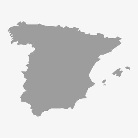 spain: Map  of Spain in gray on a white background