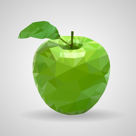 triangulation: Green  apple in the style of triangulation on a white background Illustration