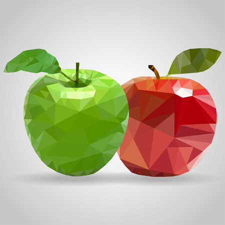 triangulation: Green  and red apples in the style of triangulation