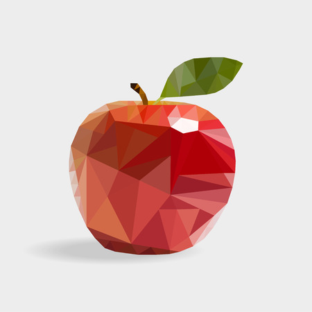 triangulation: Red  apple in the style of triangulation on a white background