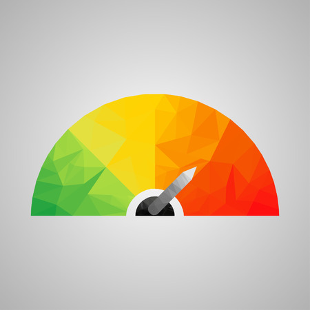 Colorful  icon with arrows in the style of triangulation Ilustrace
