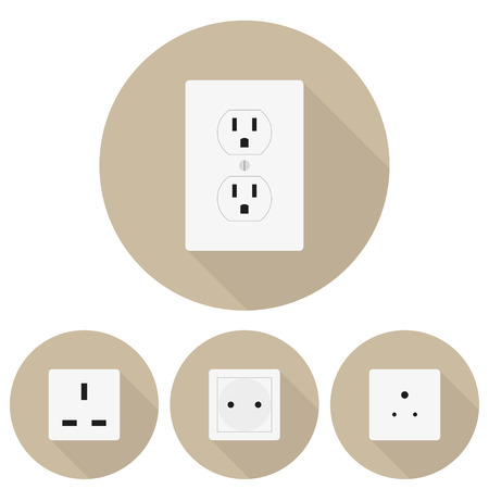 sockets: Four  different types of sockets in a flat design