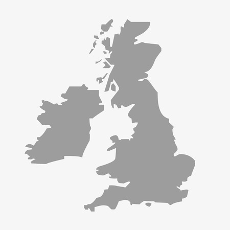 geography of europe: Map  of the Great Britain in gray on a white background Illustration