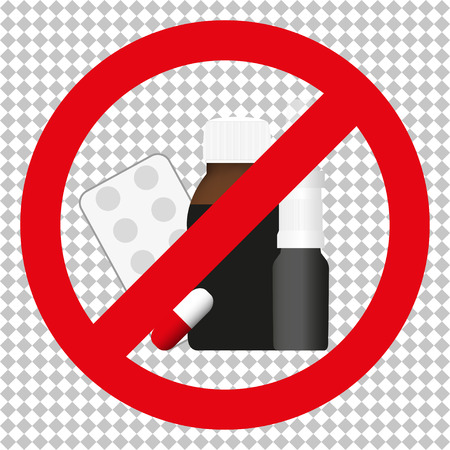 ban sign: Sign  of prohibition of various drugs. The tablets, spray, syrup. Illustration