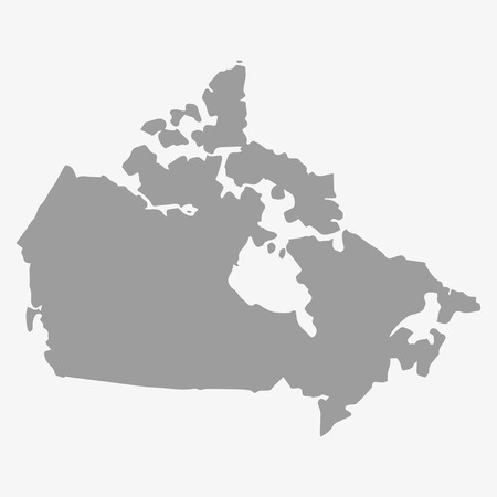 physical geography: Map  of Canada in gray on a white background