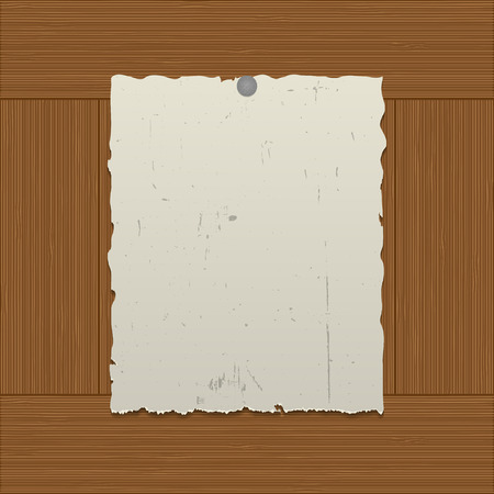 nailed: Sheet  of the old paper nailed to a wooden wall Illustration