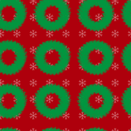 christmas wreaths: Seamless  pattern with Christmas wreaths and snowflakes on a red background
