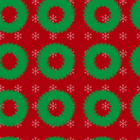 coronas de navidad: sin patrón, con guirnaldas de Navidad y copos de nieve sobre un fondo rojo