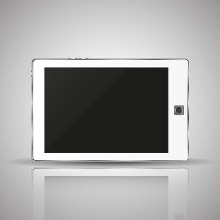 horizontal position: White  tablet in a horizontal position with shadow and reflection