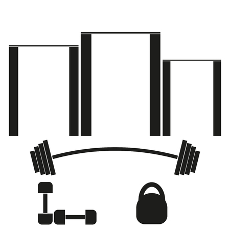 barbell: Sports  banner with horizontal bars, barbells, dumbbells and weights