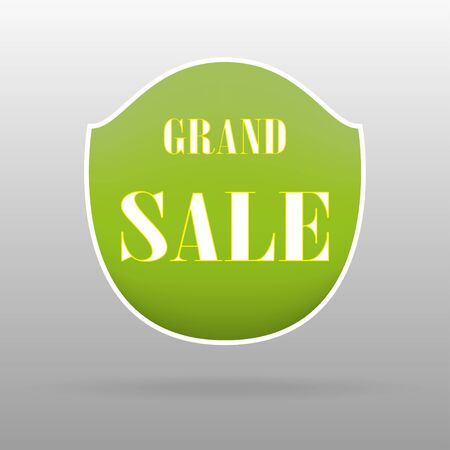 grand sale sticker: Grand  sale. Green banner with the inscription on a grey background