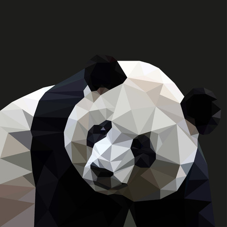 Panda  in the style of triangulation on a black background. Vector illustration Stock Illustratie