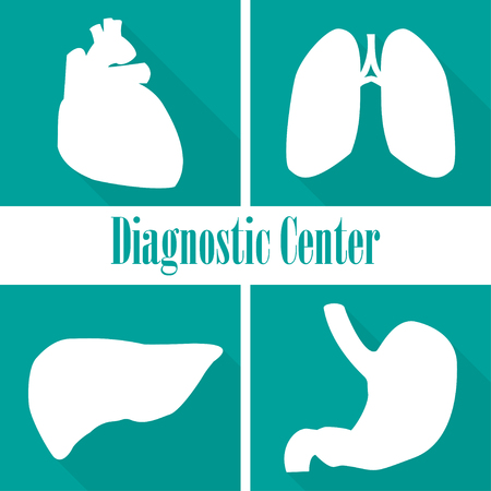 centers: Icons  diagnostic centers in a flat design. Heart, lungs, liver, stomach Illustration