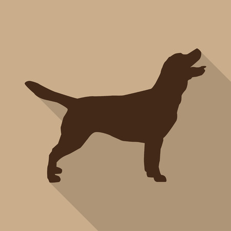 Icon  dog in brown on a biege background in a flat design Illustration