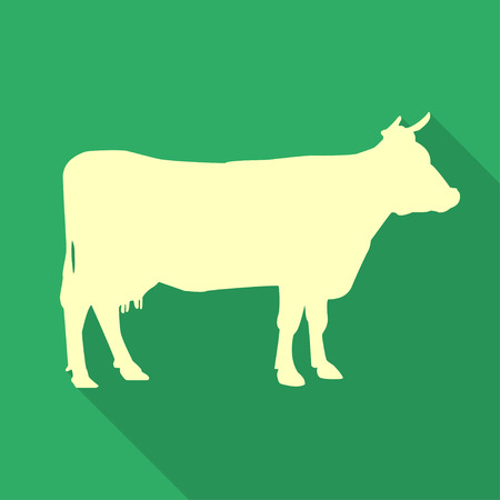 hoofed mammal: Icon  cow on a green background in a flat design. Vector illustration