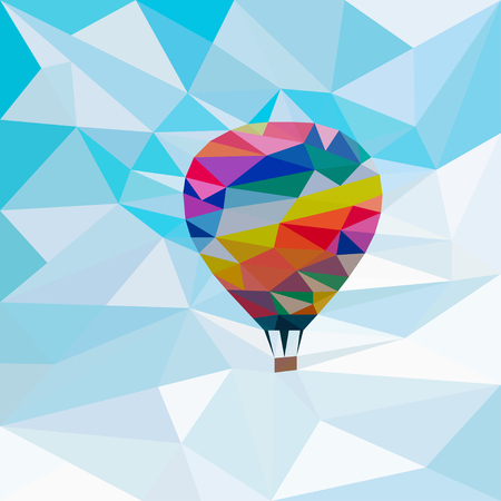 aerostat: Colorful  aerostat in the sky background in the style of triangulation
