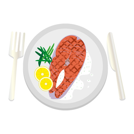 steak plate: Grilled  salmon steak with sauce on a white plate with appliances