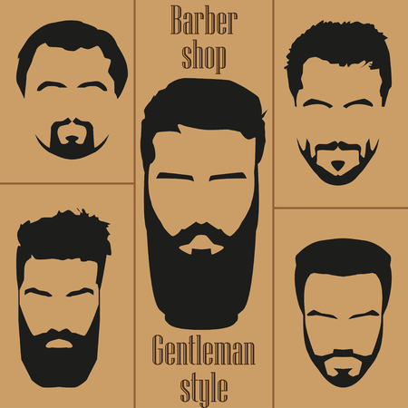 style goatee: Set  mens hair with a beard. Barber shop