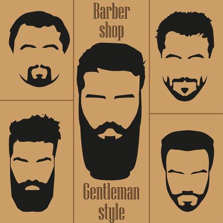 Set  mens hair with a beard. Barber shop