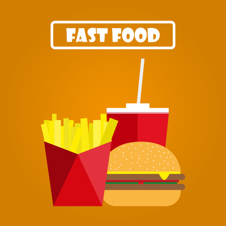 baked potatoes: Fries,  hamburger and soda on an orange background. Fast food
