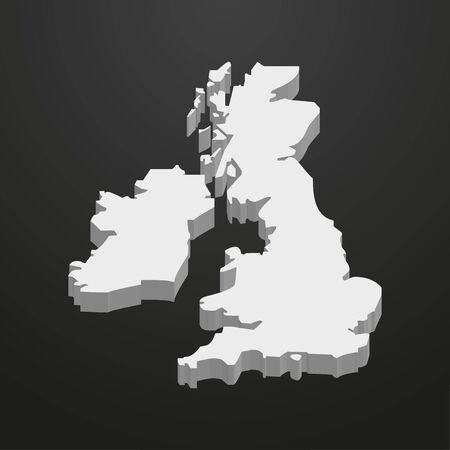 UK  map in gray on a black background 3d