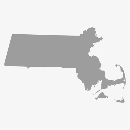 Map  the State of Massachusetts in gray on a white background
