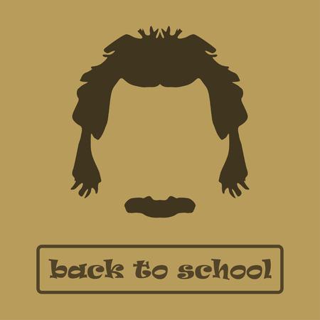 einstein: Icon  hair and mustache Einstein. Vector illustration