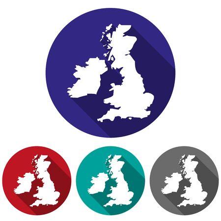 uk map: Set  of icons UK map in a flat design Illustration