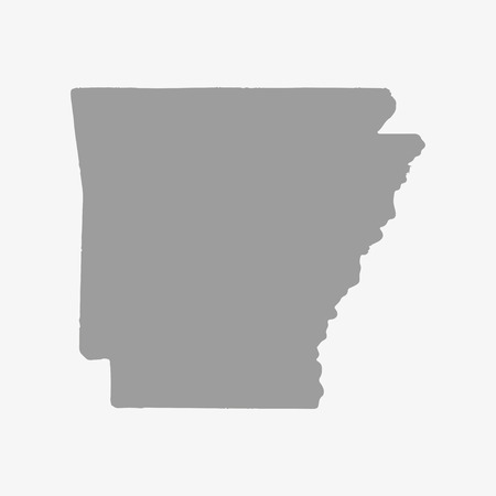 Map  of Arkansas in gray on a white background Illustration