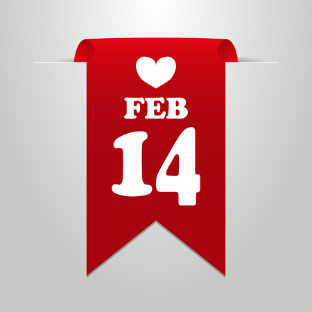 february 14: February  14 Valentines Day. Red label on a gray background Illustration