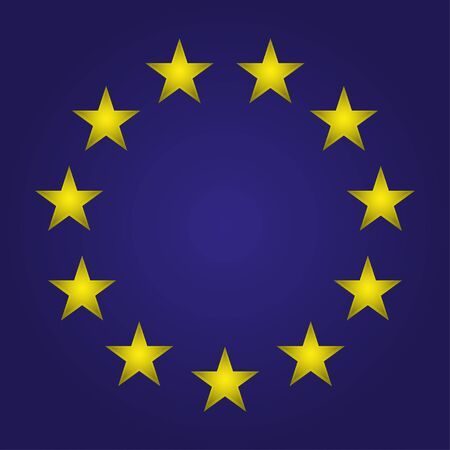 strasbourg: EU  flag. Stars on a blue background. Vector illustration