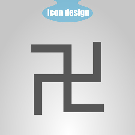 swastika: Icon  swastika on a gray background. Vector illustration. The symbol of Hinduism