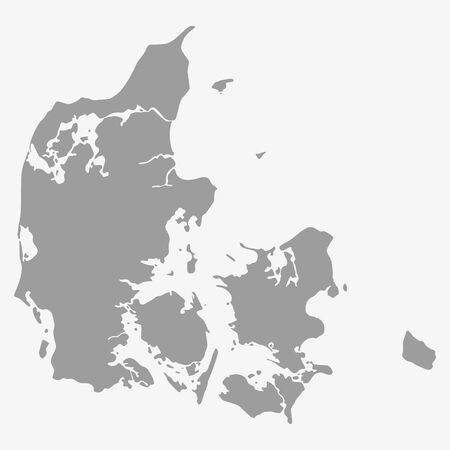 topografia: Map  of Denmark in gray on a white background