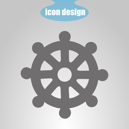 dharma: Icon  wheel of of Dharma on a gray background. Vector illustration. Buddhist symbol