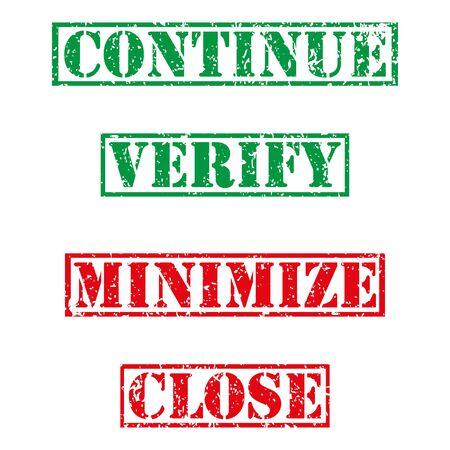 minimize: Four  stamp with grunge. Continue, verify, minimize, close