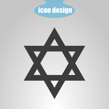 shalom: Star  of David on a gray background. Vector illustration. Judaism sign