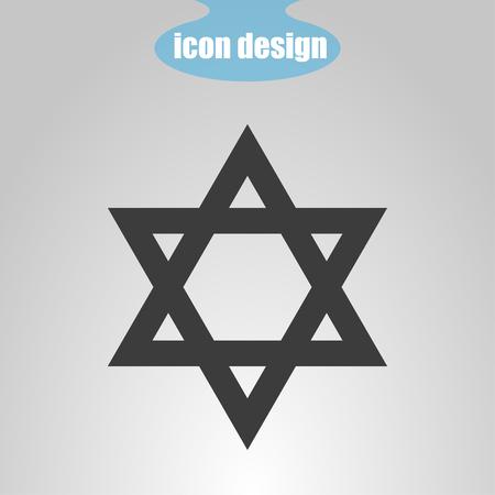 israelite: Star  of David on a gray background. Vector illustration. Judaism sign