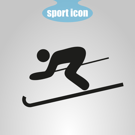 skating on thin ice: Icon  of skier on a gray background. Vector illustration Illustration